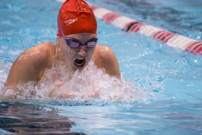 Kimmy Scott swims the 200 yard individual medley at the Red and White meet in the Lewellen Pool on Oct. 8, 2016.The red team won 117-105.  Kaiti Sullivan // DN