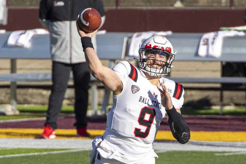 Ball State Cardinals redshirt senior quarterback Drew Plitt drops back for a pass in the first half of a game against the Central Michigan Chippewas Dec. 5, 2020, at Kelly/ Shorts Stadium in Mount Pleasant, Mich. The Cardinals beat the Chippewas 45-20. Jacob Musselman, DN