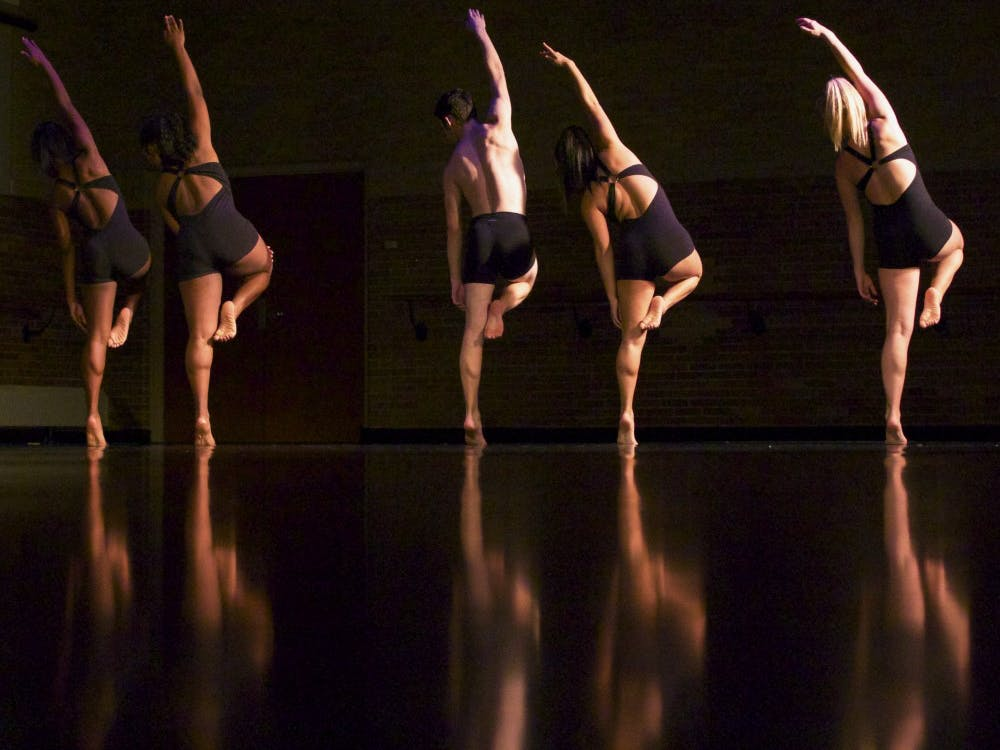 Dancers perfom in Mollie Craun's senior piece entitled Unfaltering on Oct. 28 in the Ball Gymnasium.