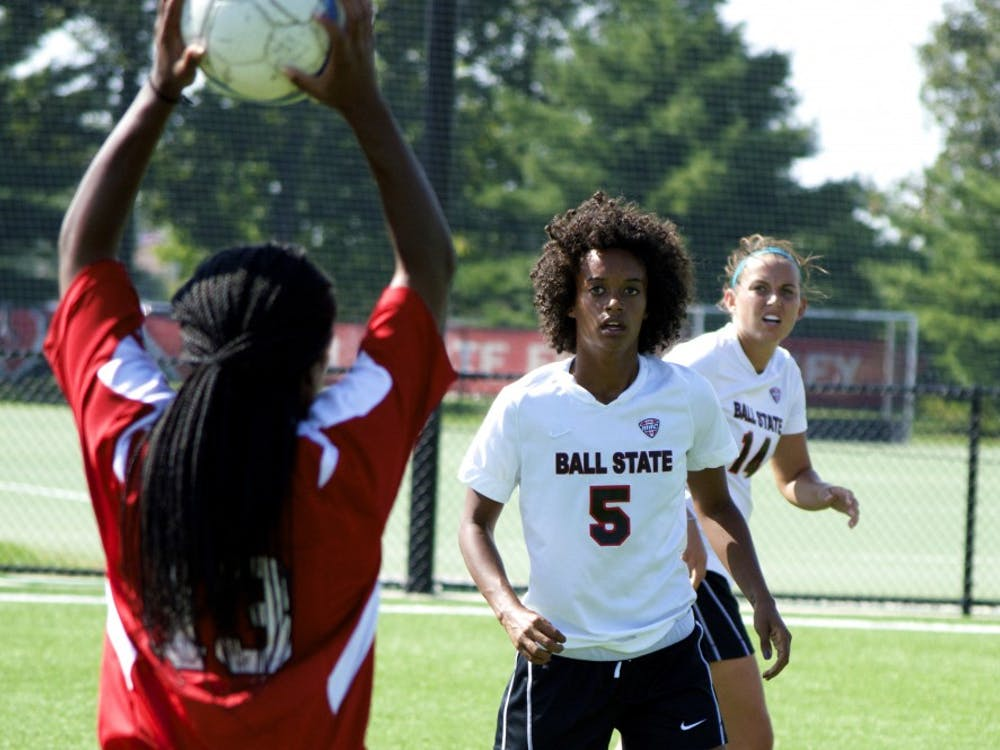 Senior Jasmine Moses watches as a Jacksonville State player thorws a ball back into play during the game on Saturday. DN PHOTO ALAINA JAYE HALSEY