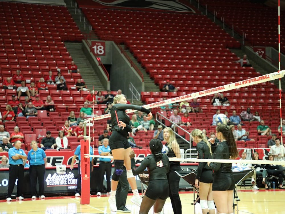 Senior middle blocker Sydnee VanBeek hits a ball during warmups for the Ball State Tournament Aug. 30, in Worthen Arena. The Cardinals defeated UAB, 3-0, and lost to USF, 3-2. Gabbi Glass, DN