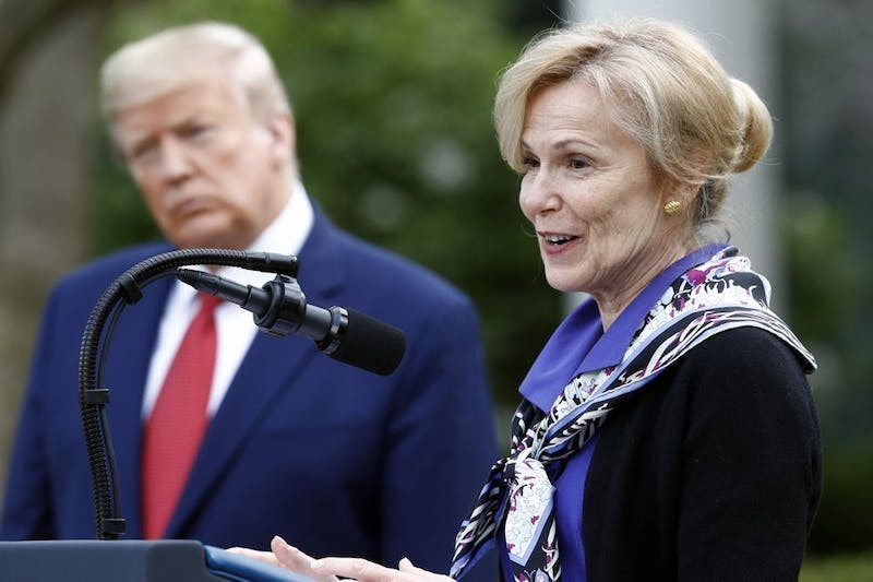 Dr. Deborah Birx, White House coronavirus response coordinator, speaks during a coronavirus task force briefing in the Rose Garden of the White House, March 29, 2020, in Washington, as President Donald Trump listens. (AP Photo/Patrick Semansky)