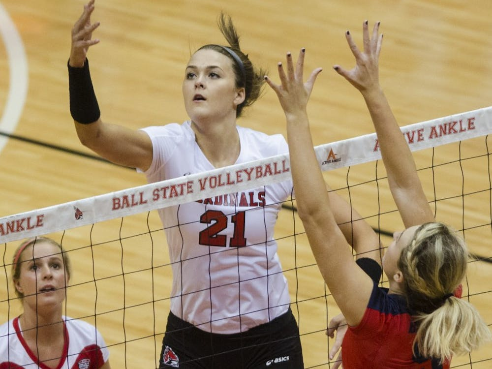 The Ball State women's volleyball team faced Belmont in their second game of the Active Ankle Tournament on Aug. 28 at Worthen Arena. Ball State won the match 3-2.