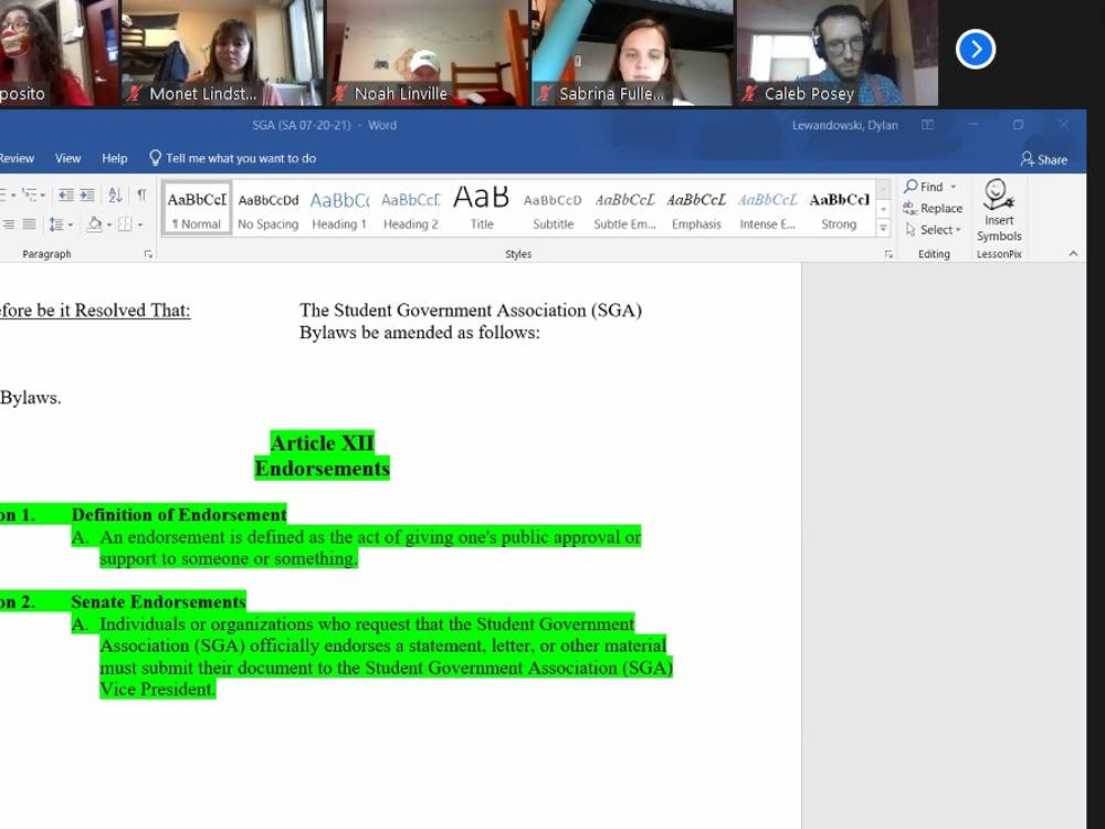 Ball State SGA senators look over the amendment defining the SGA endorsement process at the Nov. 18 Zoom meeting. The amendment will be voted on at a later date. Maya Wilkins, Screenshot Capture