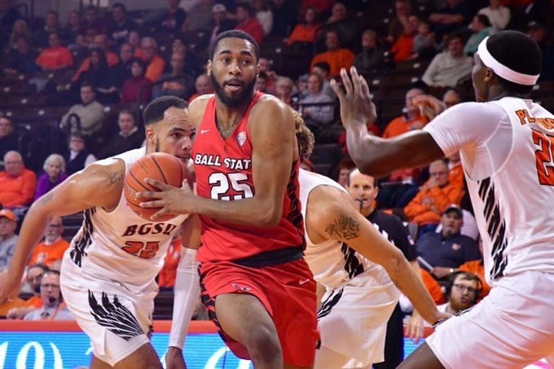 Redshirt senior forward Tahjai Teague attempts to make a basket in a game against Bowling Green on Jan. 28 in Bowling Green, Ohio. Teague had 18 points in the loss. (Ball State Athletics, photo provided)