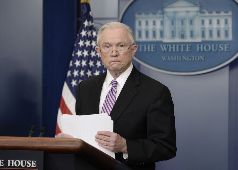US Attorney General Jeff Sessions speaks during the Daily Briefing at the White House Monday, March 27, 2017 in Washington, D.C. (Olivier Douliery/Abaca Press/TNS)