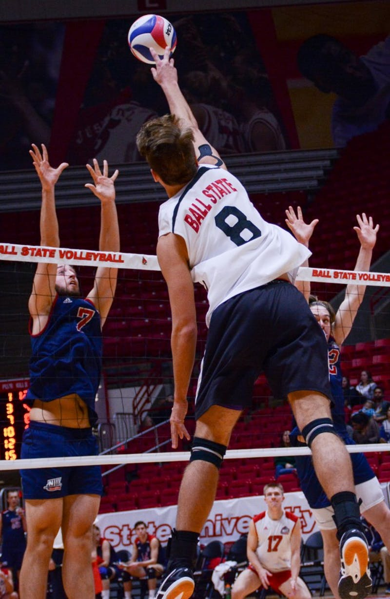 Freshman outside attacker Blake Reardon spikes the ball at the game against New Jersey Institute of Technology on Jan. 27 in John E. Worthen Arena. The Cardinals gained a 3-1 win improving to 8-1 this season. Kaiti Sullivan // DN