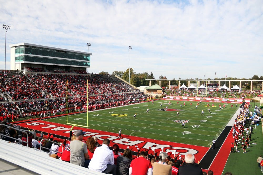 <p>Ball State plays Toledo on homecoming Saturday, Oct. 19, 2019, at Scheumann Stadium. The Cardinals won 52-14. <strong>Paige Grider, DN</strong></p>