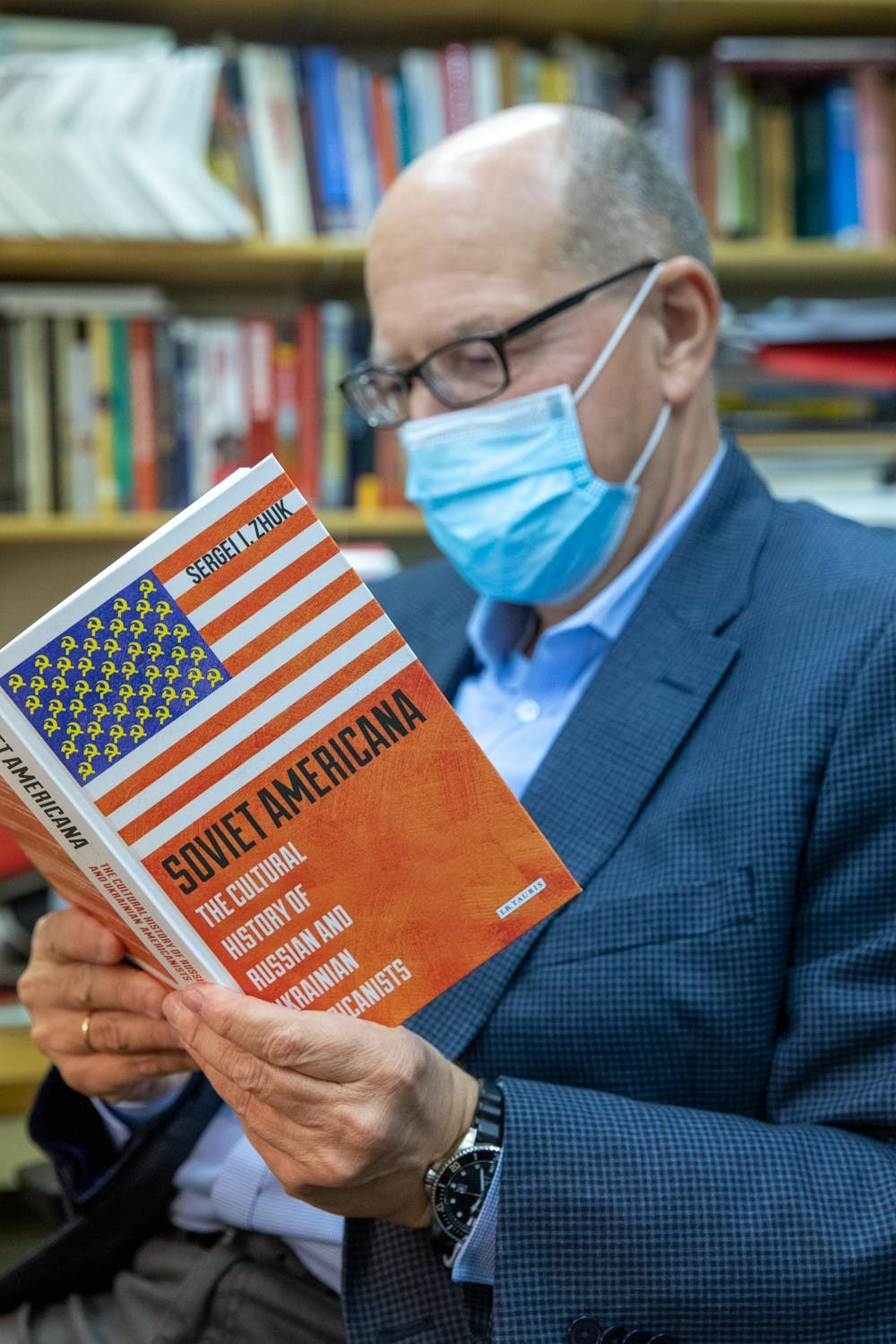<p>Sergei Zhuk, professor of history, poses for a photo Oct. 6, 2020, in the Burkhardt Building. Zhuk came to the United States in 1997 after leaving the Soviet Union. <strong>Jacob Musselman, DN</strong></p>