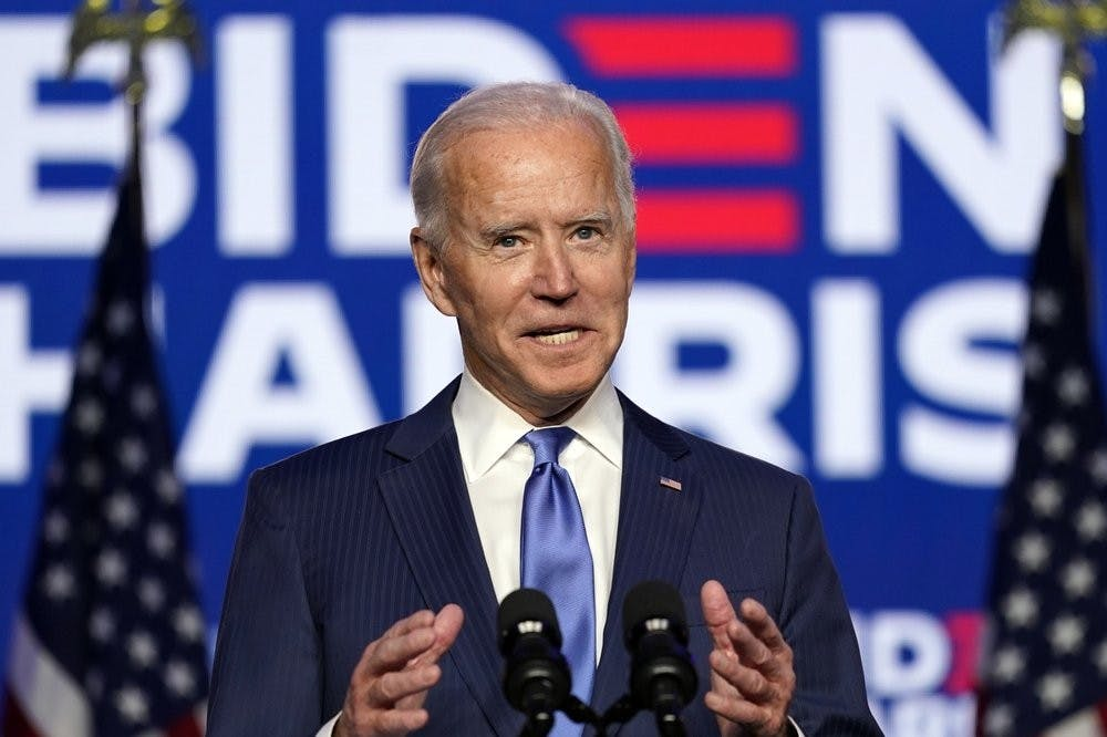 <p>Democratic presidential candidate former Vice President Joe Biden speaks Friday, Nov. 6, 2020, in Wilmington, Del. <strong>(AP Photo/Carolyn Kaster)</strong></p>