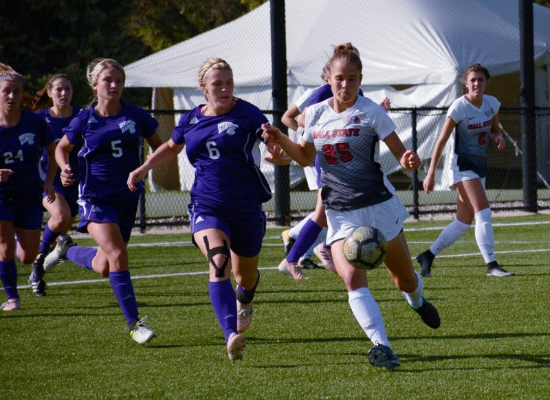 Sophomore defender Yela Ziswiler kicks the ball away from Western Illinois Sept. 15 at Briner Sports Complex. The Cardinals won 3-0. Harrison Raft, DN