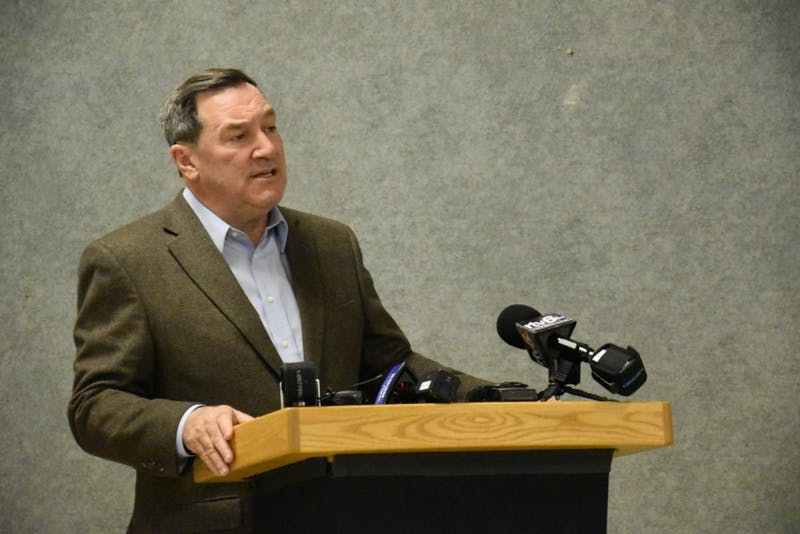 U.S. Sen. Joe Donnelly spoke at a town hall on Sunday in John R. Emens Auditorium. Health care and Supreme Court nominees were two of the many subjects Donnelly was asked about. Patrick Calvert // DN