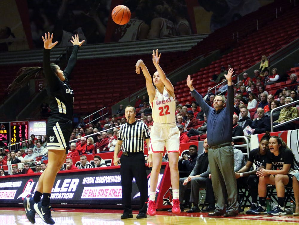 <p>Ball State freshman guard Estel Puiggros shoots a three during the Cardinals' game against Butler Saturday, Nov. 23, 2019, at John E. Worthen Arena. Puiggros scored 10 points. <strong>Paige Grider, DN</strong></p>
