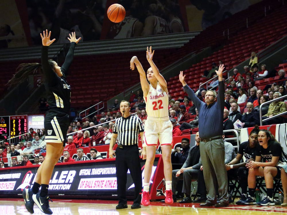 Ball State freshman guard Estel Puiggros shoots a three during the Cardinals' game against Butler Saturday, Nov. 23, 2019, at John E. Worthen Arena. Puiggros scored 10 points. Paige Grider, DN