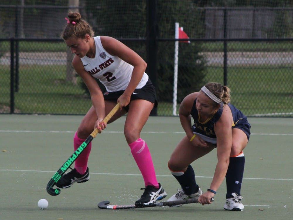 Junior midfielder Carley Shannon attempts to get the ball around a La Salle defender at Briner Sports Complex on Oct. 16.  Shannon had one shot on goal in the game.  DN // Patrick Murphy