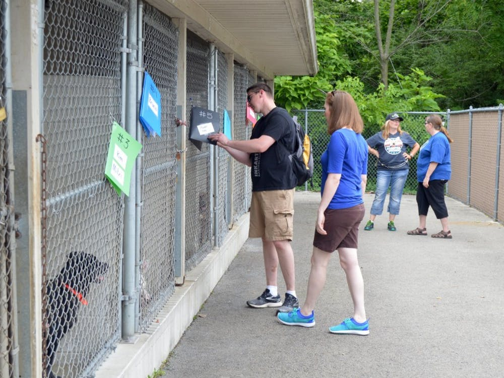 A Facebook film crew visitedThe Muncie Animal Shelter on July 18 to talk with volunteersas they walkeddogs andplayed the mobile game Pokémon Go. DN PHOTO REBECCA KIZER