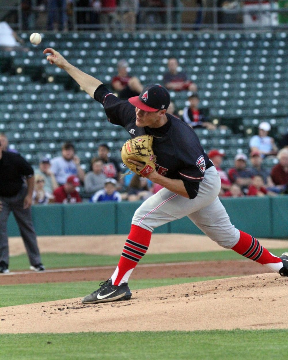 Junior Colin Brockhouse pitches during the Cardinals' game against Indiana University on April 25 at Victory Field. Brockhouse was the starting pitcher for Ball State. Paige Grider // DN