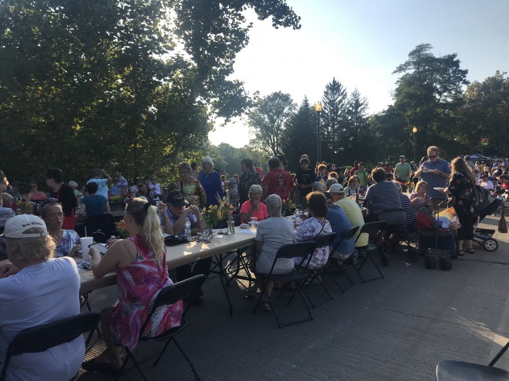 Hundreds of people filled the Washington Street Bridge for the Muncie Bridge Dinner.