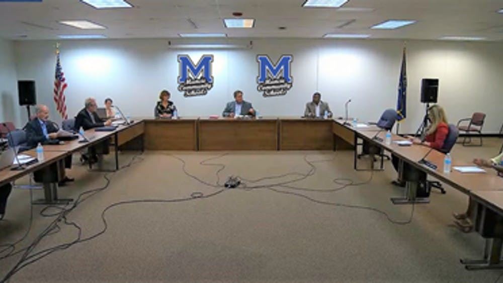 The Muncie Community Schools (MCS) Board of Trustees discusses support staff hourly pay at its meeting July 27, 2021. The board voted to increase hourly pay and it will reveal its district reopening plan next week. Andy Klotz, Muncie Community Schools, Photo Provided