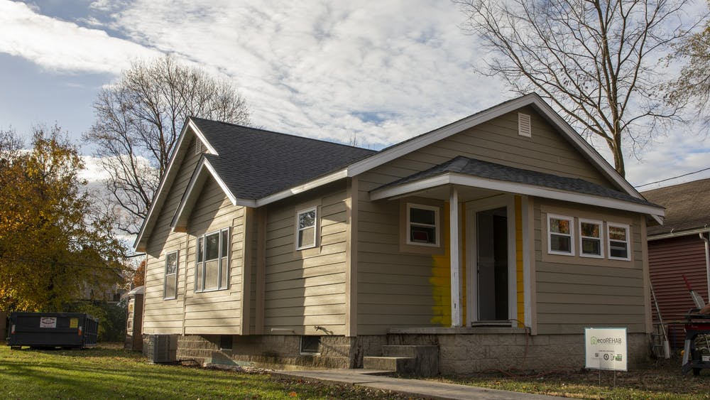 A house involved with the ecoREHAB program sits in the sunlight Nov. 10, 2020. The house is located on W. Kilgore Street. Jacob Musselman, DN