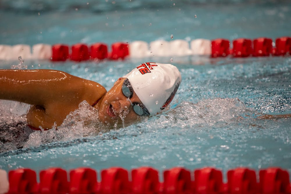<p>Senior Cassidy Blackwin swims during a meet against Toledo Jan. 16, 2020, at Lewellen Acquatics Center. The Cardinals beat the Rockets 193-105. <strong>Jacob Musselman, DN</strong></p>