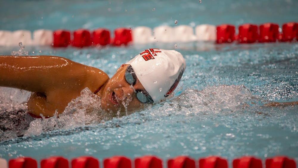 Senior Cassidy Blackwin swims during a meet against Toledo Jan. 16, 2020, at Lewellen Acquatics Center. The Cardinals beat the Rockets 193-105. Jacob Musselman, DN