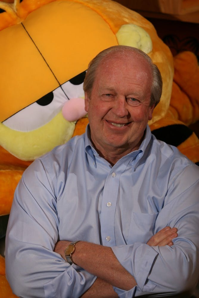 Jim Davis studied art and business at Ball State. After graduating, he created the popular comic strip Garfield, which is now seen in more than 2,100 newspapers nationwide. Photo Courtesy M Magazine, The Star Press