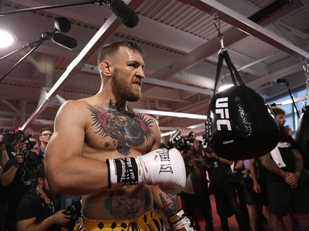 Conor McGregor works out at UFC Performance Institute on Aug. 11, 2017 in Las Vegas. (Myung J. Chun/Los Angeles Times/TNS)