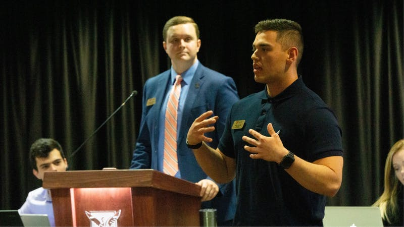 Student Government Association President Aiden Medellin delivers the State of the Senate speech Nov. 6, 2019, at the L.A. Pittenger Student Center. Medellin said there was no official contact between SGA and the Black Student Association regarding the potential of holding a town hall event about the Jan. 21, 2020, classroom incident. John Lynch, DN