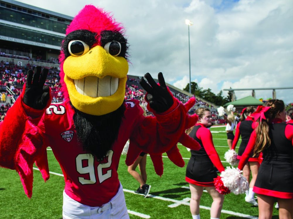 Charlie Cardinal celebrates at Scheumann Stadium on at the Homecoming game. This years homecoming game will take place on Oct. 21 against Central Michigan