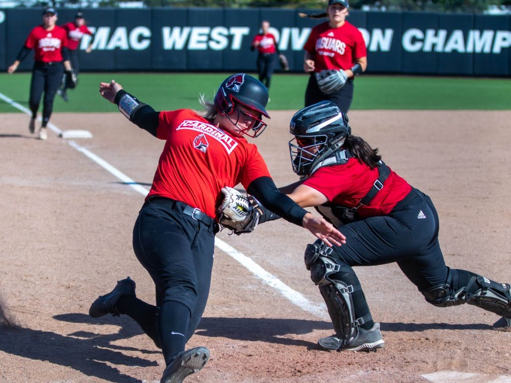 Ball State softball player slides into home plate Oct. 5, 2019, at First Merchants Ballpark. Jacob Musselman, DN