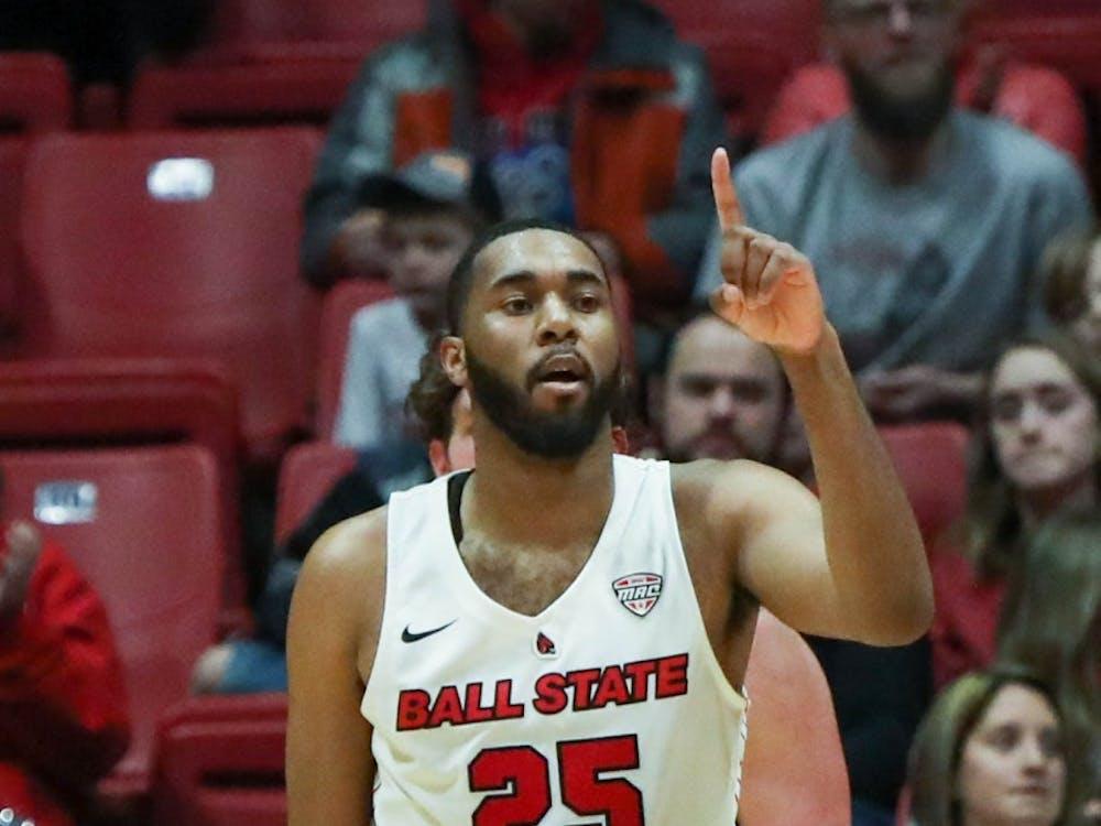 Redshirt senior forward Tahjai Teague signals another dunk Feb. 1, 2020, in the John E. Worthen Arena. Teague scored 24 points against the Bobcats. Joshua Smith, DN