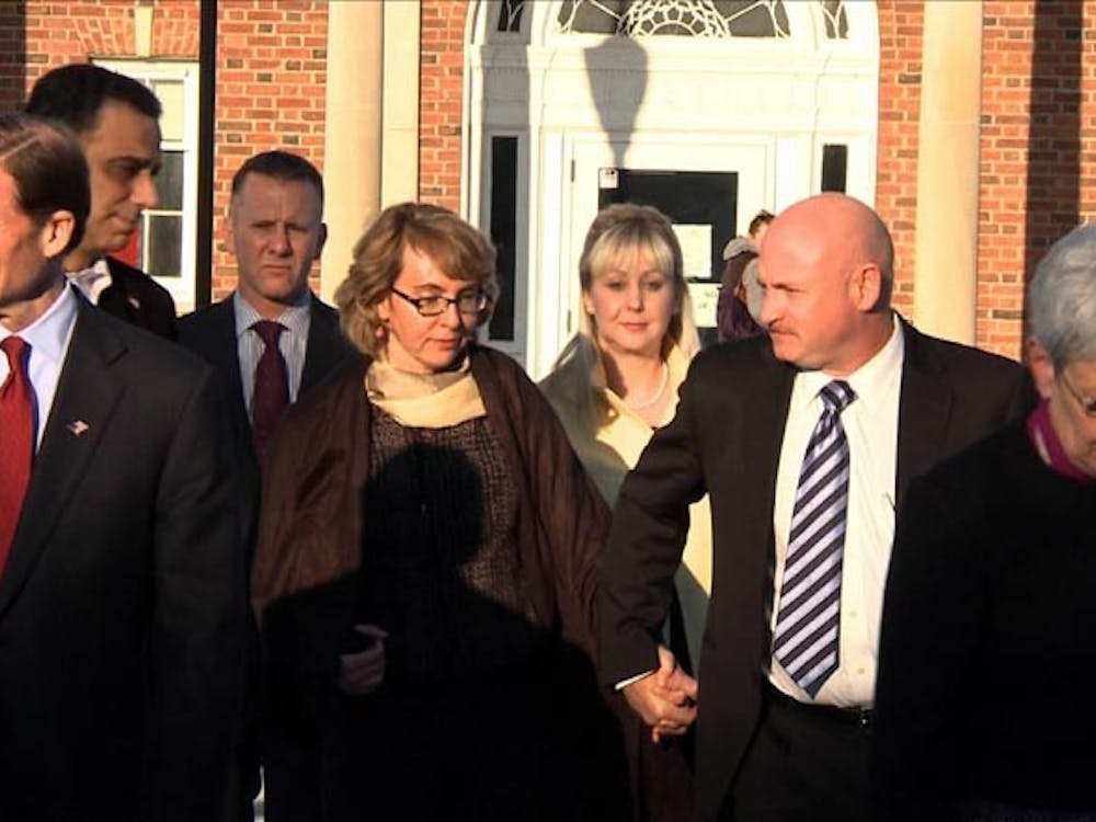 Former Arizona congresswoman Gabrielle Giffords leaves the Newtown Municipal Center in Newtown, Conn., on Friday after meeting with families that were affected by the Sandy Hook shooting. On Tuesday, Giffords and her husband Mark Kelly, formed a political action committee aimed at curbing gun violence.  MCT PHOTO