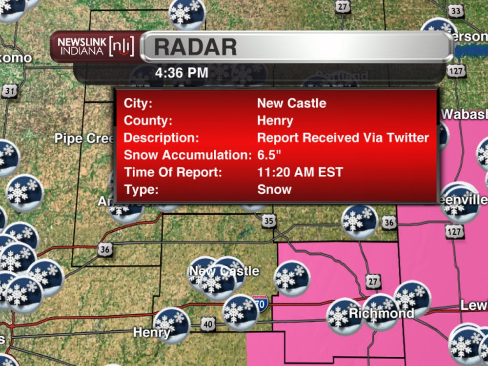 "Snowfall report of 6.5"" from New Castle in Henry county."
