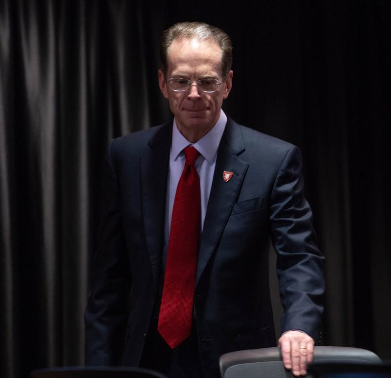 President Geoffrey Mearns takes his seat before the Board of Trustees meeting Feb. 8, 2019. Mearns said an all-time record of more than 25,000 high school students have applied for admission to Ball State for the fall 2019 semester. Scott Fleener, DN