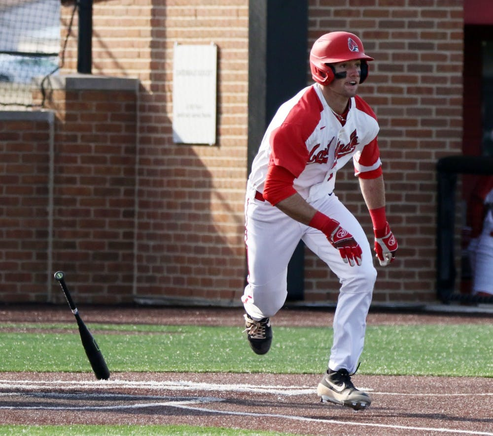 <p>Ball State junior center fielder Aaron Simpson runs to first in the seventh inning of the Cardinals' game against Purdue March 19, 2019 at Ball Diamond at First Merchants Ballpark Complex in Muncie, IN. Ball State's 6 to 0 win over Purdue gives them a 11-9 record. <strong>Paige Grider, DN</strong></p>