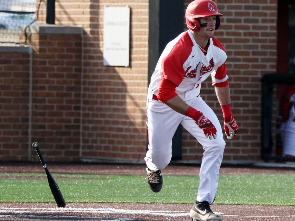 Ball State junior center fielder Aaron Simpson runs to first in the seventh inning of the Cardinals' game against Purdue March 19, 2019 at Ball Diamond at First Merchants Ballpark Complex in Muncie, IN. Ball State's 6 to 0 win over Purdue gives them a 11-9 record. Paige Grider, DN