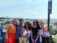 Meghan Pier, Scott Barrera, Marlenne Devia, Ashley Schoener and Katie Califano explore downtown Porto in July 2019. Stephanie Simon-Dack, who co-led the study abroad program, said staying in one area in Portugal rather than constantly moving from city to city allowed her students to live like Porto's residents and connect more with Portuguese culture. Meghan Pier, Photo Provided.