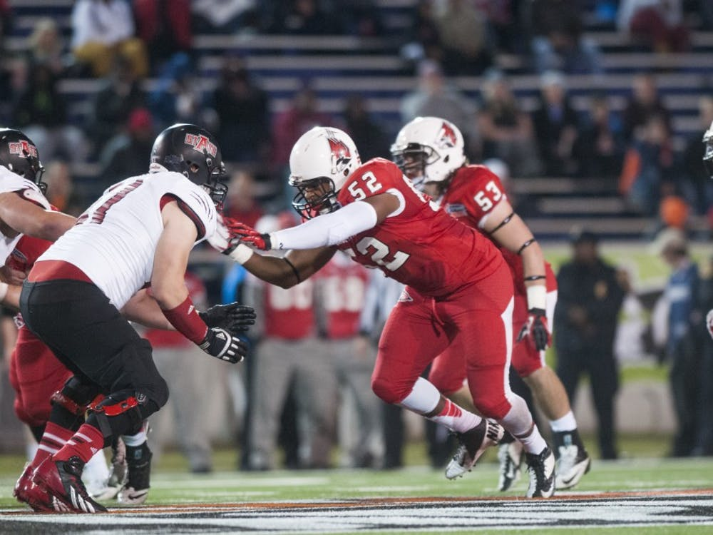 Senior defensive end Nick Miles attempts to stop a player during the GoDaddy Bowl against Arkansas State on Jan. 5 at Ladd-Peebles Stadium. Miles is the only returning starter from last season