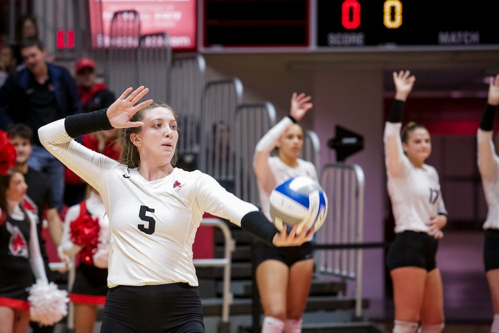 <p>Freshman middle blocker, Marie Plitt (5), sets up to serve during the third match against Miami Redhawks on October 25, 2019, at John E. Worthen Arena. Miami defeated the Cardinals 3-0. <strong>Omari Smith, DN</strong></p>