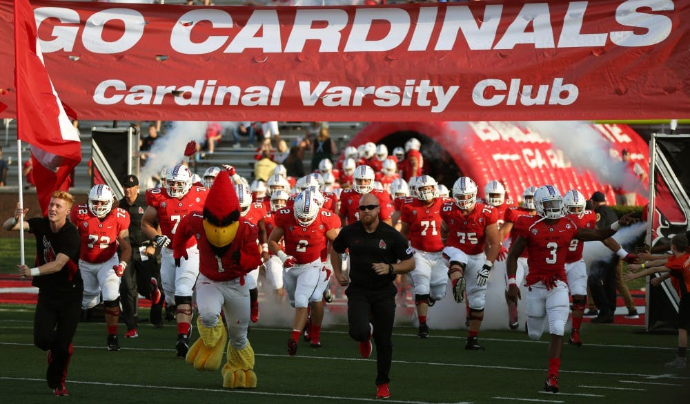 <p>The Ball State University football team storms the field against Central Connecticut State Aug. 30, 2018, at Scheumann Stadium. The Cardinals went on to defeat the Blue Devils 42-6. <strong>Jacob Haberstroh,DN</strong></p>