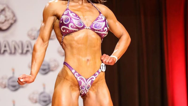 Rachael Heffner poses on stage during her routine for judges during the Indiana State Championship on Aug. 18, 2018. Rachael Heffner, Photo provided.