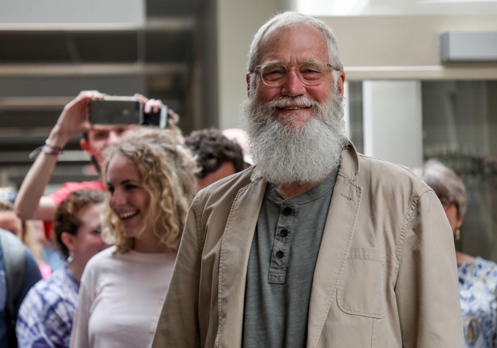 <p>David Letterman meets with students in the David Letterman Communication and Media Building May 2 after meeting with President Mearns. <strong>Kaiti Sullivan, DN</strong></p>