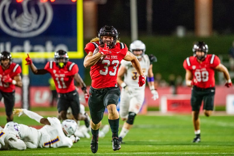 Ball State University running back, Carson Steele, has his eyes set on the endzone looking for his first touchdown as a Cardinal in a game against Western Illinois on September 2nd, 2021 at Scheumann Stadium. Kyle Atkisson, DN