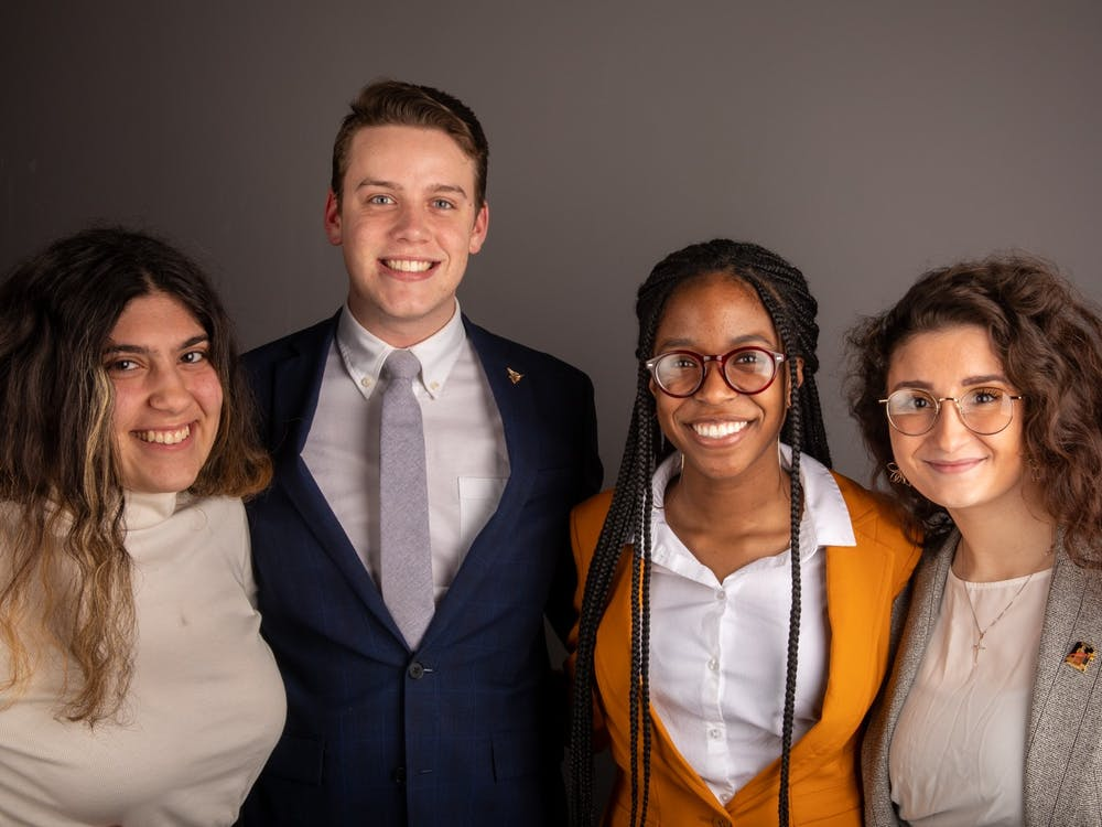 (From left to right) Candidates of Bold slate Amanda Mustaklem, treasurer, Connor Sanburn, president, Jordyn Blythe, vice president, Gina Esposito, secretary. Jacob Musselman, DN