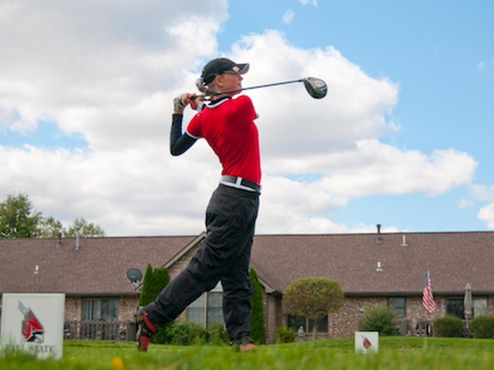 DN FILE PHOTO BOBBY ELLIS Jenna Hague takes a swing during the Cardinal Classic on Sept. 23. Hague finished first in two events for the fall golf season.
