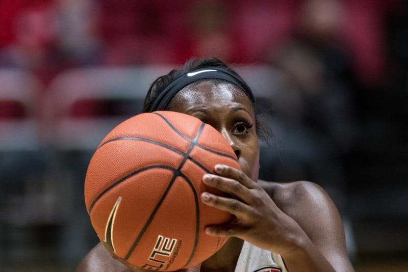 Sophomore forward Oshlynn Brown lines up a free throw in the first quarter of Ball State's game against Ohio University Jan. 12, in John E. Worthen Arena. The game was close in the first quarter, but Ohio gained momentum to hold a 15 point lead for almost the whole game. Eric Pritchett,DN