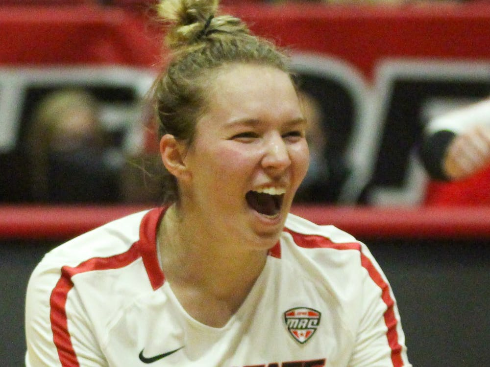 Freshman setter Megan Wielonski cheers for her teammate against Northern Kentucky at Worthen Arena Sept. 18. Wielonski comes from Cincinnati, Ohio, were she has played club and high school volleyball. Jacy Bradley, DN