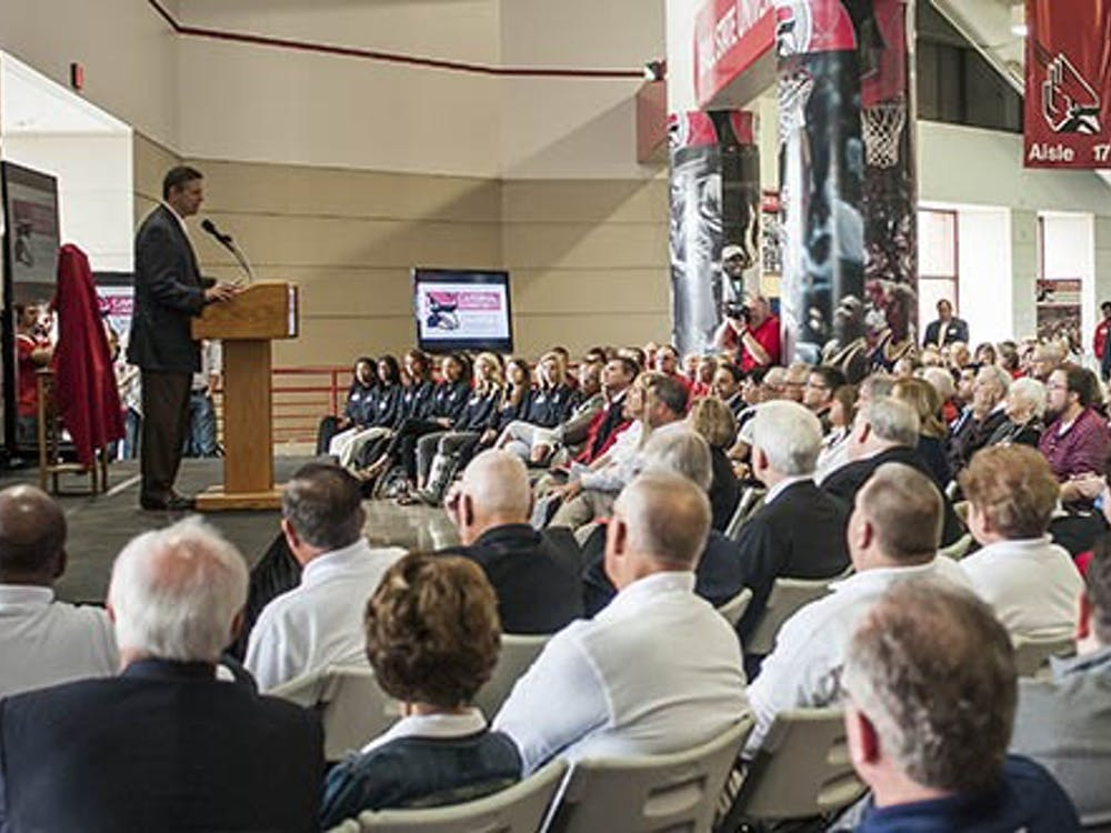 Athletic director Bill Scholl discusses the new athletic facility improvements during a press conference on April 20. Ball State officially announced a $20 million initiative to both improve current athletic facilities and build new ones. DN PHOTO JONATHAN MIKSANEK