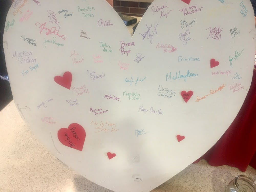 Ball State students signed a heart to show their support for victims of Hurricane Harvey. Jake Thomas News 397